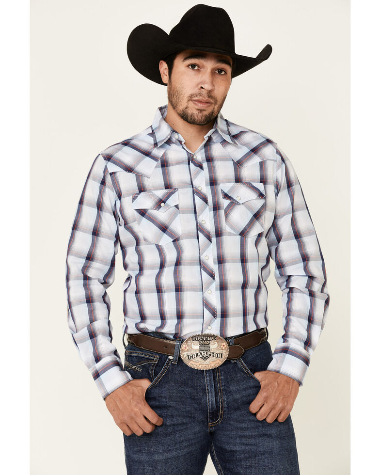 Wrangler Men's Blue Large Plaid Fashion Snap Long Sleeve Western Shirt , Blue, hi-res