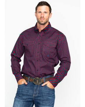 Roper Men's Red Geo Print Long Sleeve Western Shirt , Red, hi-res