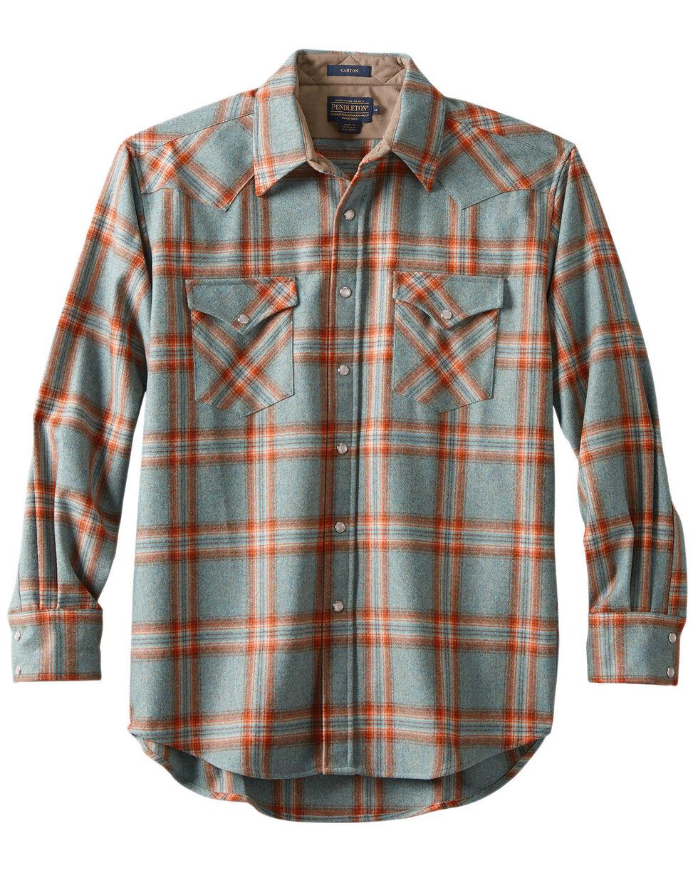 Pendleton Men's Canyon Copper Plaid Long Sleeve Western Flannel Shirt , Aqua, hi-res