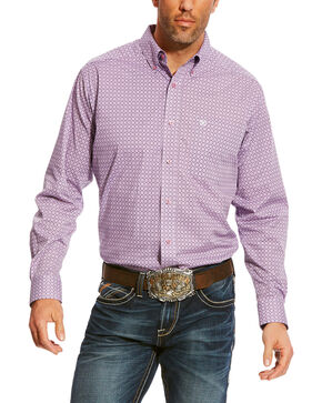 Ariat Men's Lavender Albarado Stretch Print Shirt , Lavender, hi-res