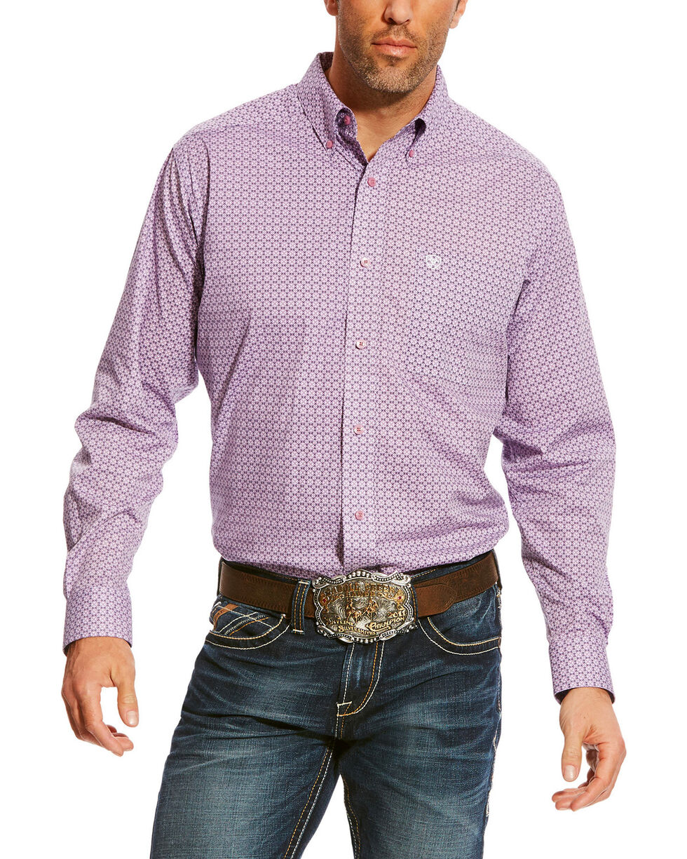 Ariat Men's Lavender Albarado Stretch Print Shirt , Lavender, hi-res