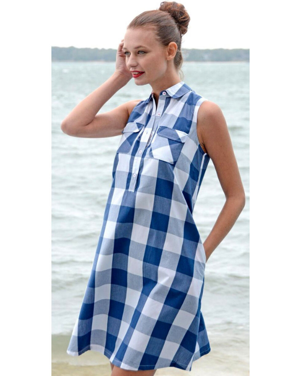 Dizzie Lizzie Women's Hilton Head Plaid Shirt Dress , Blue, hi-res