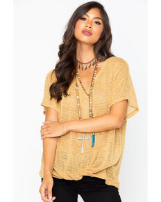 Sadie & Sage Women's Tie Up Short Sleeve Shirt, Gold, hi-res