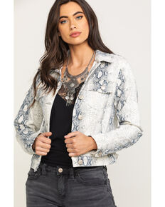 Shyanne Women's Python Print Denim Trucker Jacket, White, hi-res