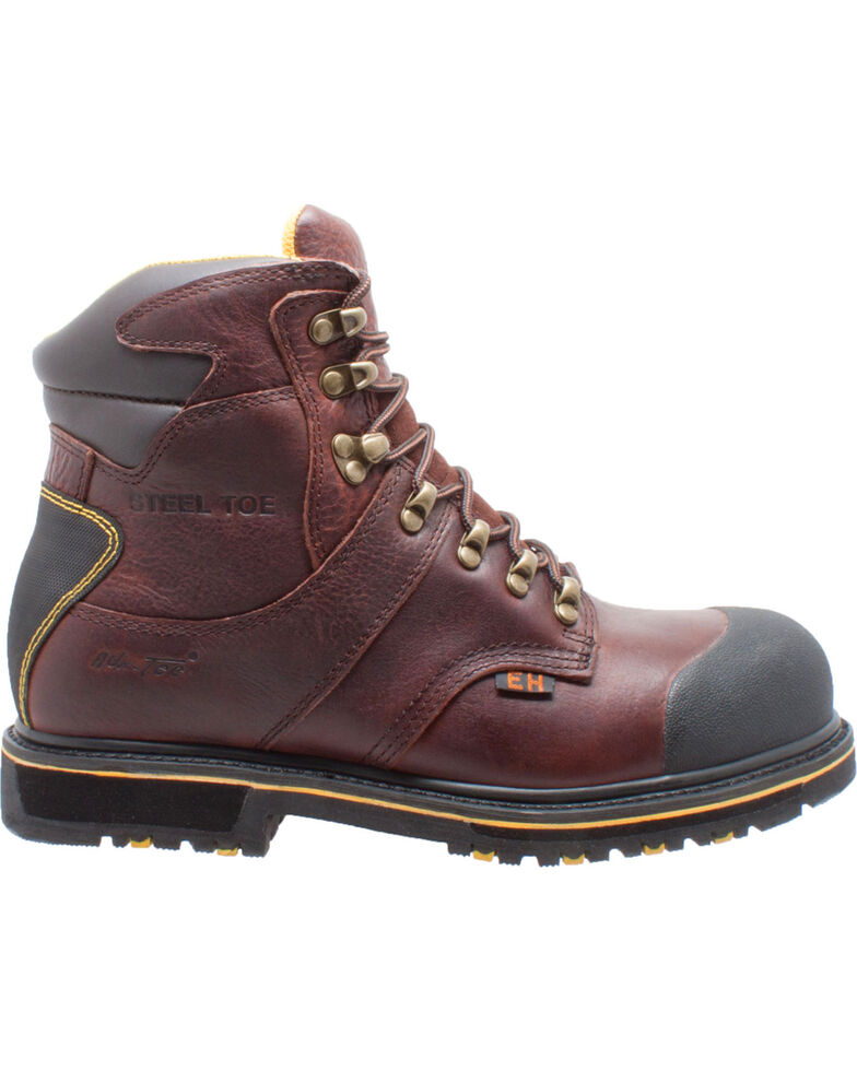 """Ad Tec Men's 6"""" Dark Brown Leather EH Waterproof Work Boots - Steel Toe, Dark Brown, hi-res"""