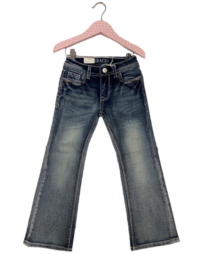 Grace In LA Toddler Girls' Light Wash Floral Steer Embellished Pocket Bootcut Jeans, Blue, hi-res
