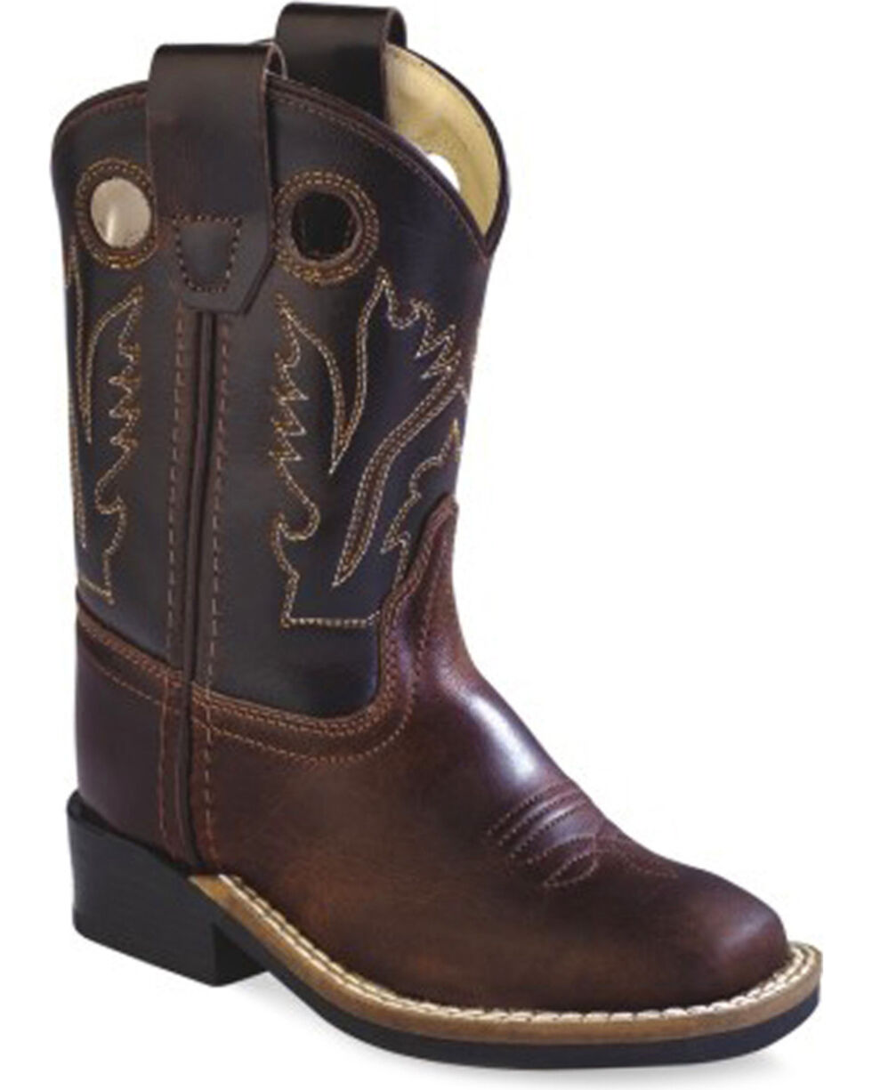 Old West Toddler Boys' Brown Western Cowboy Boots - Square Toe, Brown, hi-res