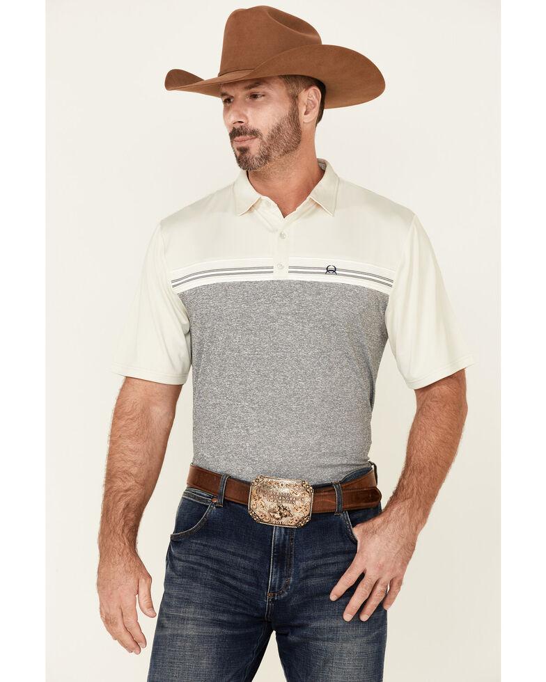 Cinch Men's Arena Flex Cream Two Tone Short Sleeve Polo Shirt, Cream, hi-res
