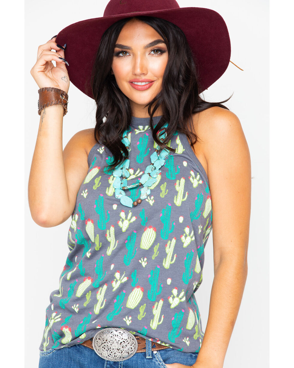 Rock & Roll Cowgirl Women's Cactus Print Cross Back Tank, Grey, hi-res