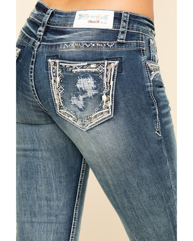Grace in LA Women's Medium Wash Embroidered Distressed Skinny Jeans, Blue, hi-res