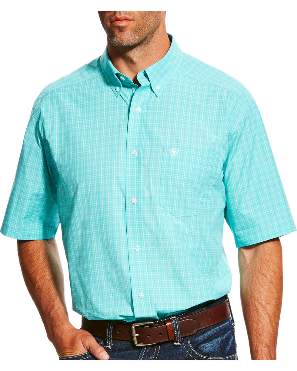 Ariat Men's Pro Series Manny Plaid Short Sleeve Button Down Shirt, Green, hi-res