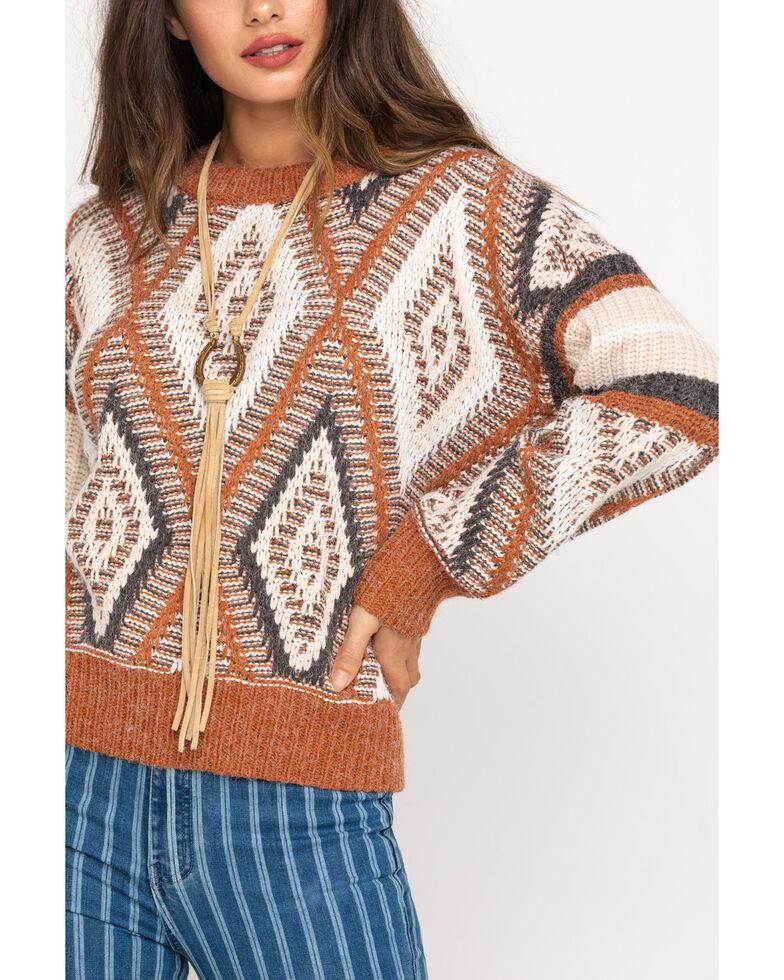 Pol Women's Brick Aztec Pullover Sweater, Red, hi-res