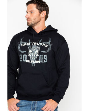 Buck Wear Men's Hard Core Ram Trucks Graphic Logo Hoodie , Black, hi-res
