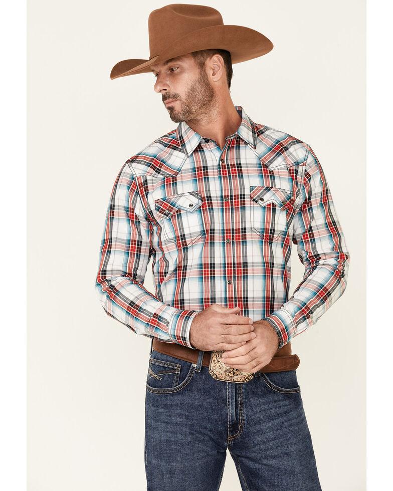 Cody James Men's Firecracker Large Plaid Long Sleeve Snap Western Shirt , Navy, hi-res