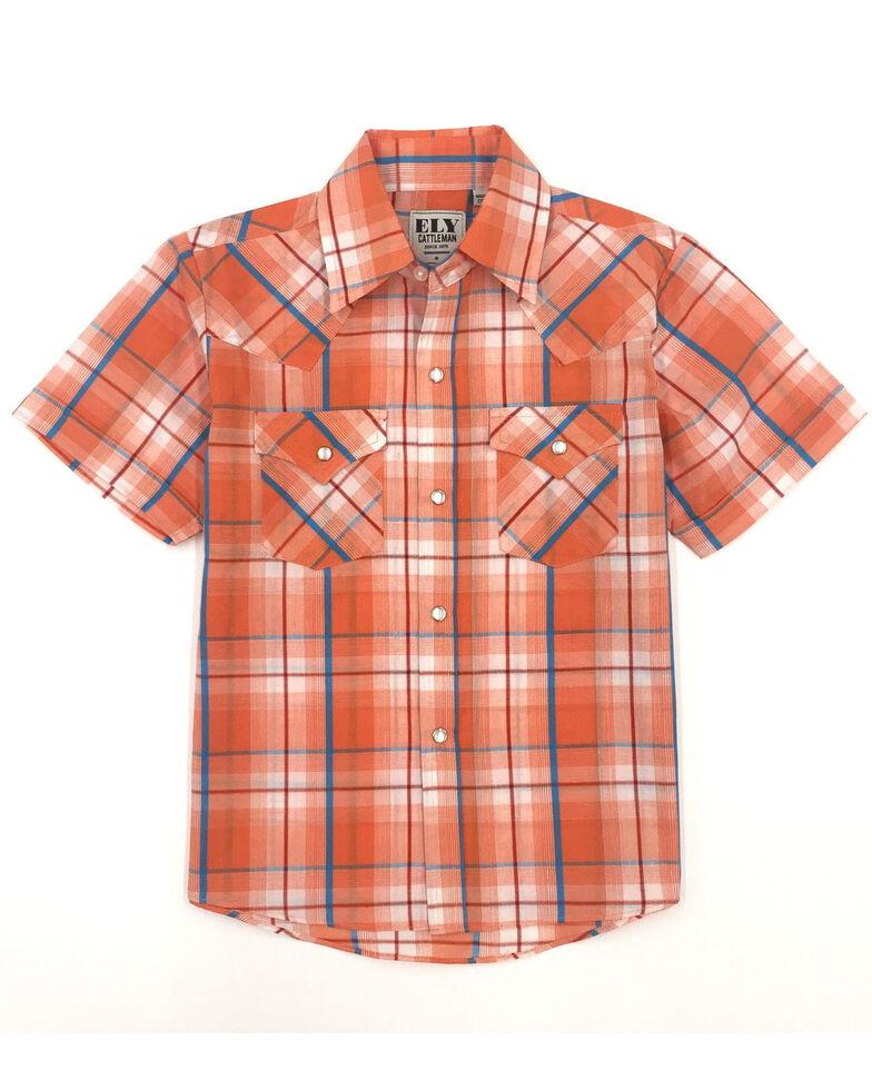 Ely Cattleman Boys' Assorted Orange Plaid Short Sleeve Western Shirt , Orange, hi-res