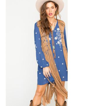 Scully Honey Creek Macrame Knotted Fringe and Bead Vest, Beige, hi-res