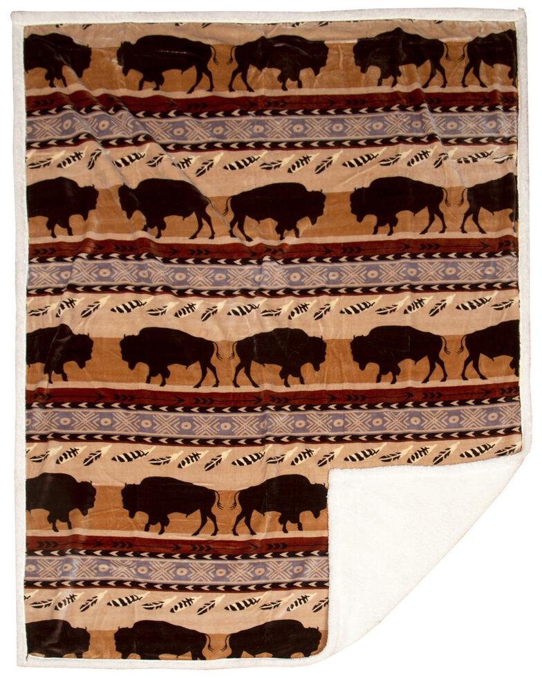 Carstens Home Wrangler Buffalo Southwestern Sherpa Fleece Throw Blanket , Blue, hi-res