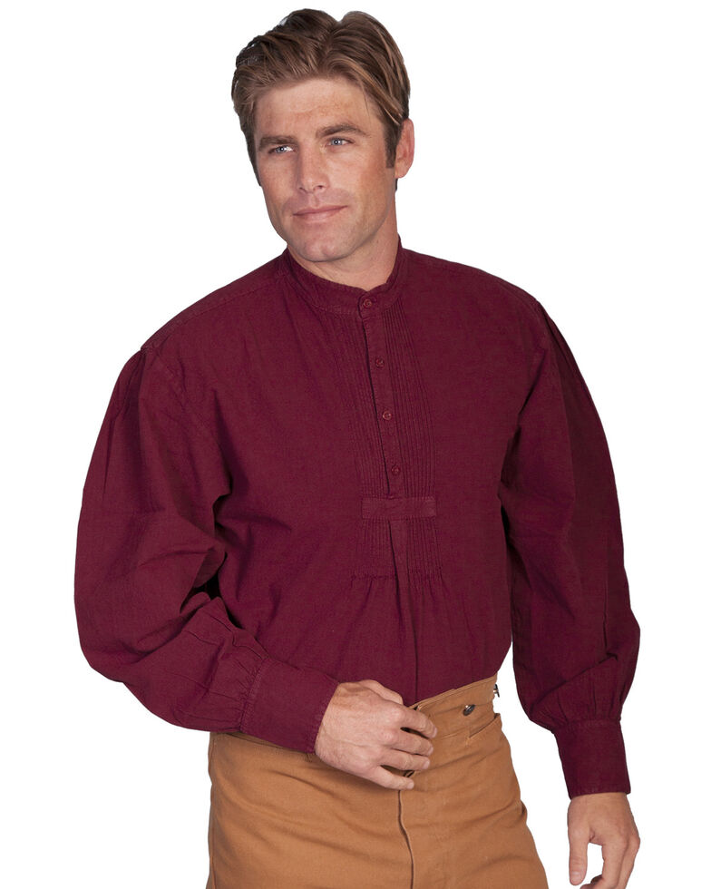 Rangewear by Scully Pleated Front Pullover Western Shirt - Big & Tall, Burgundy, hi-res