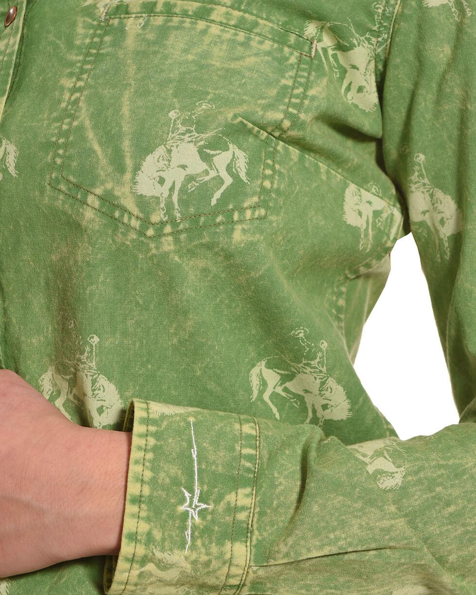 Ryan Michael Women's Meadow Bucking Horse Print Shirt , Light Green, hi-res