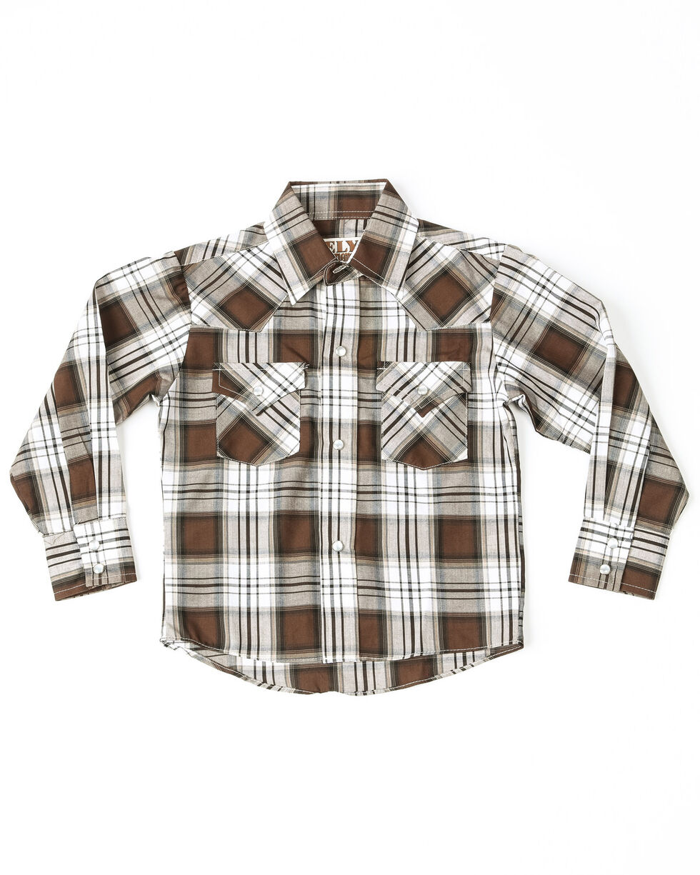 Ely Cattleman Boys' Lurex Plaid Long Sleeve Shirt , Black, hi-res