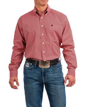 Cinch Men's Coral Geo Print Long Sleeve Western Shirt , Coral, hi-res