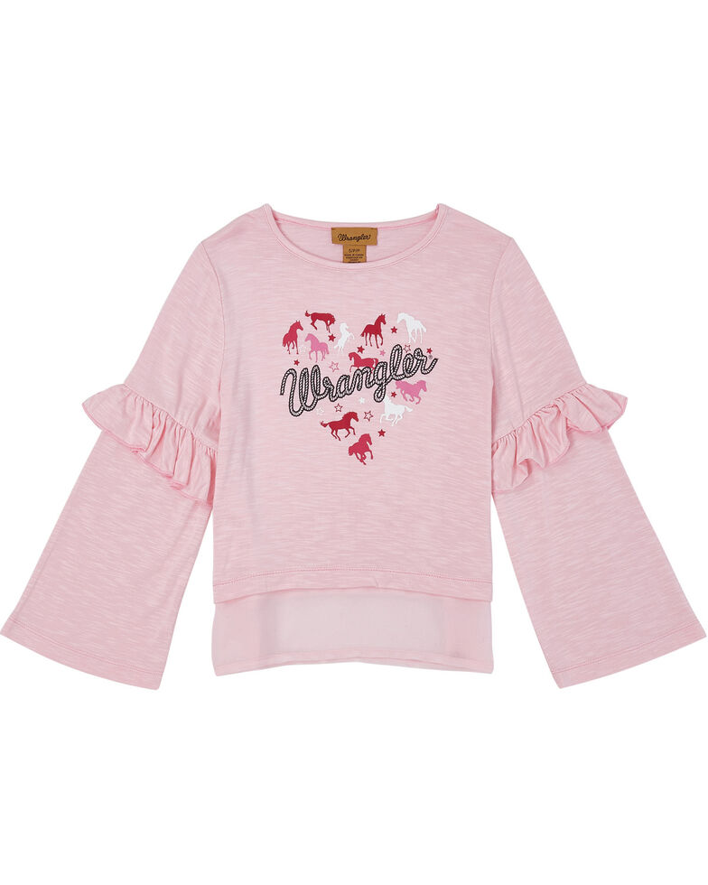 Wrangler Girls' Pink Horse Heart Ruffle Long Sleeve Top, Pink, hi-res