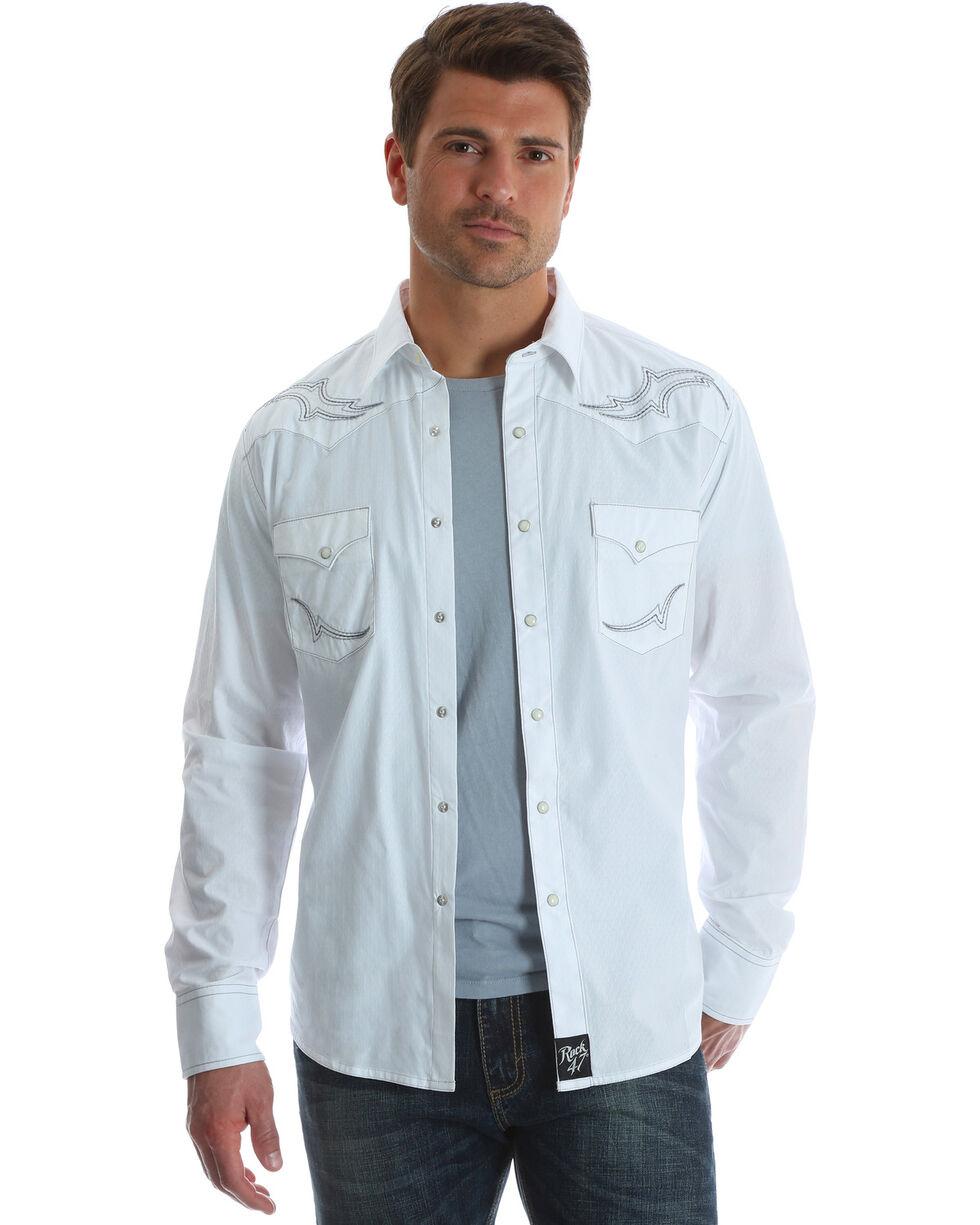 Wrangler Rock 47 Men's White Fancy Yoke Shirt - Big & Tall, White, hi-res
