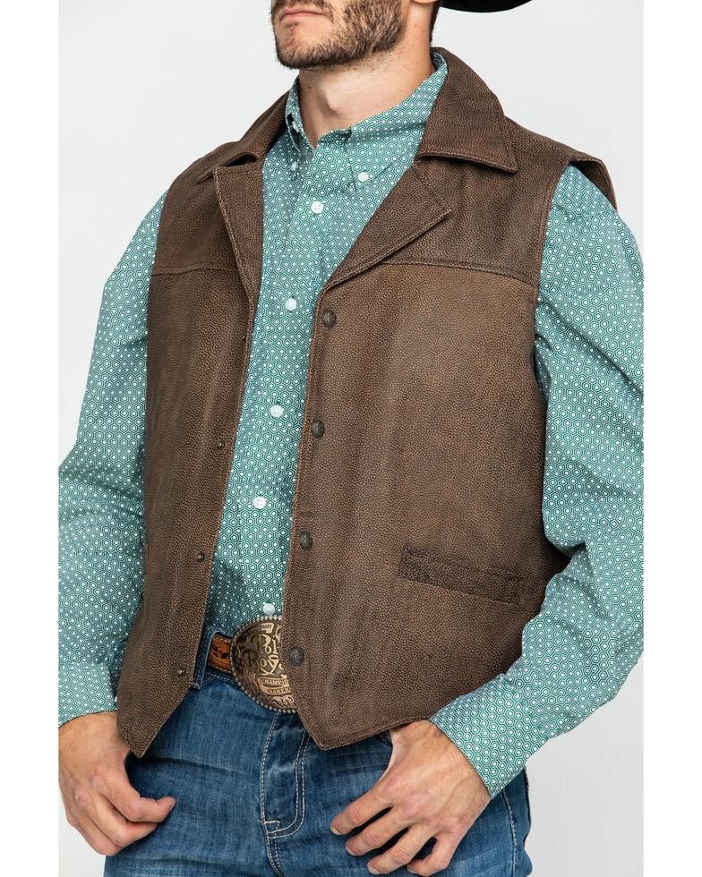 Cripple Creek Men's Acorn Snap Distressed Lamb Nappa Vest , Brown, hi-res