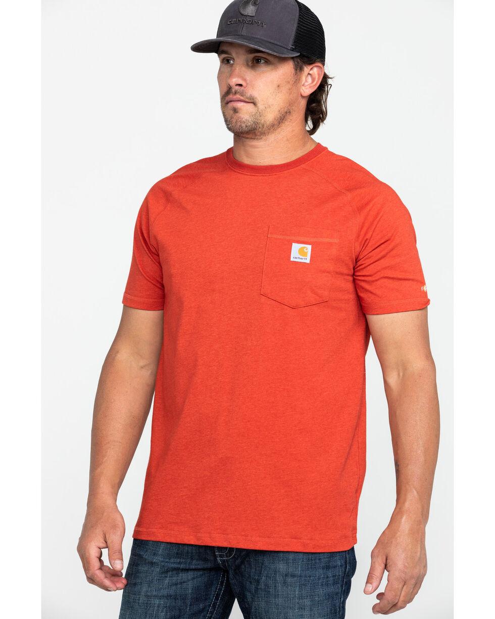 Carhartt Men's Force Cotton Delmont Short Sleeve Work T-Shirt , Heather Red, hi-res