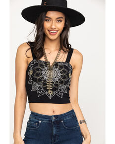 Coco + Jaimeson Women's Black Embroidered Crop Top, Black, hi-res