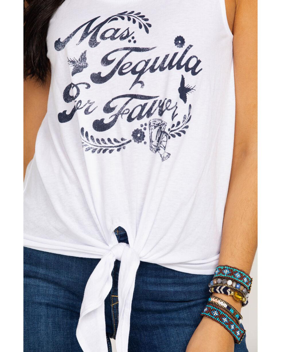 White Crow Women's Mas Tequila Por Favor Graphic Tie Front Tank , White, hi-res