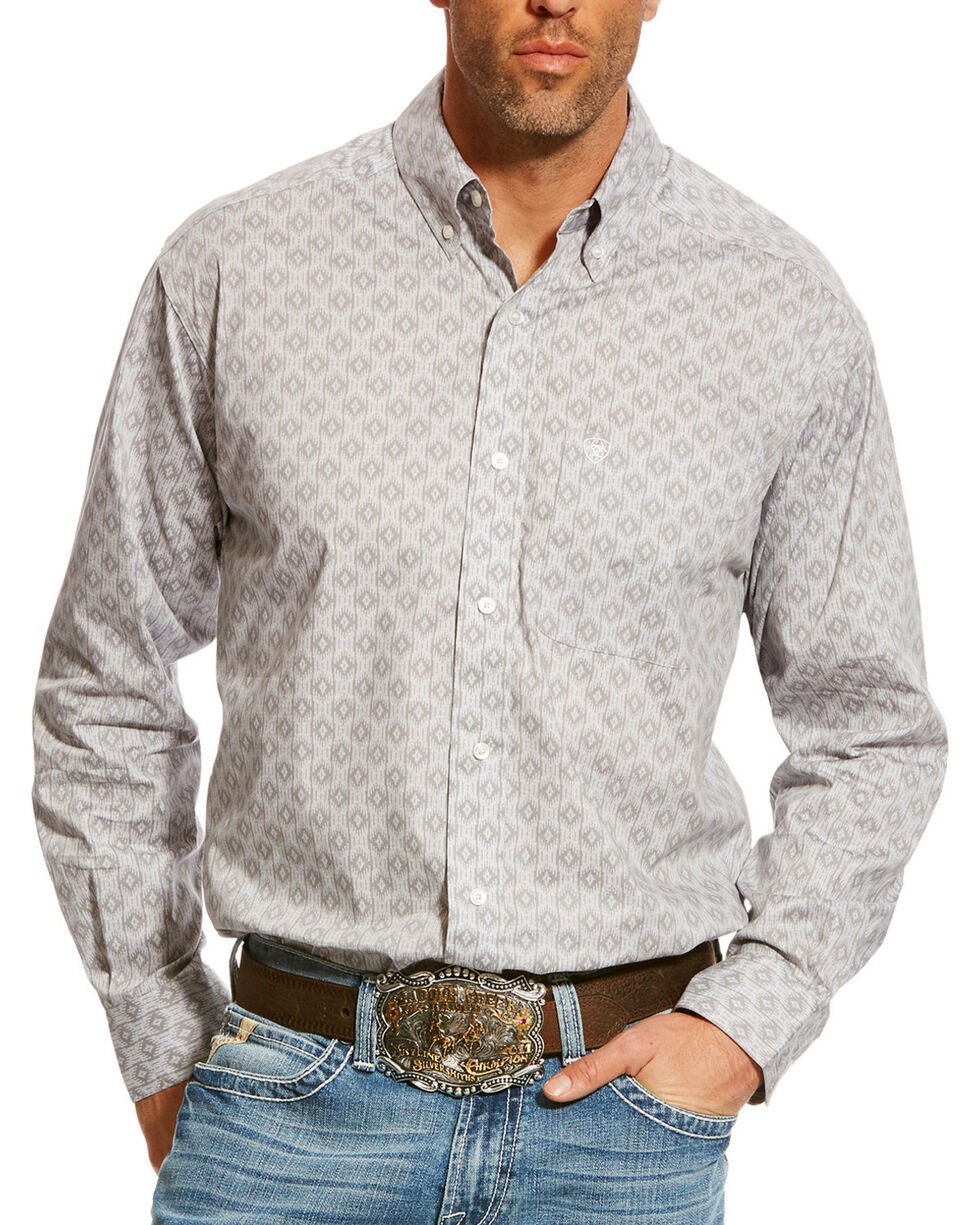 Ariat Men's Grey Carlington Stretch Print Shirt , Grey, hi-res