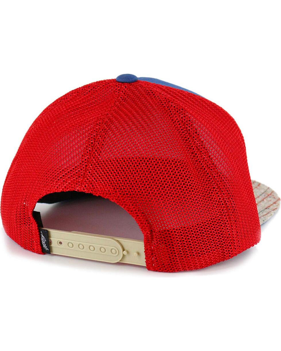 HOOey Men's Tweed Hybrid Bill Ball Cap, Blue/red, hi-res