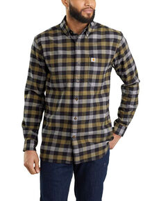 Carhartt Men's Rugged Flex Hamilton Plaid Long Sleeve Work Shirt , Black, hi-res