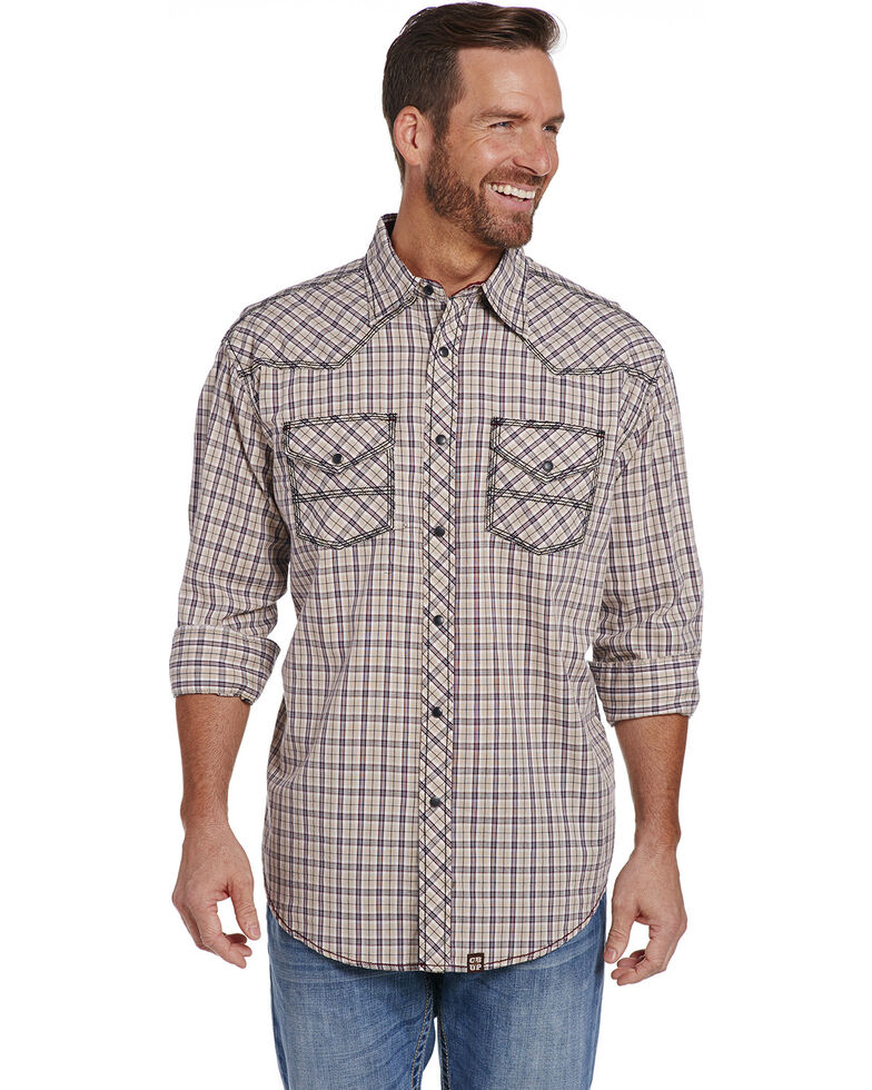 Cowboy Up Men's Tan Enzyme Wash Plaid Shirt , Tan, hi-res