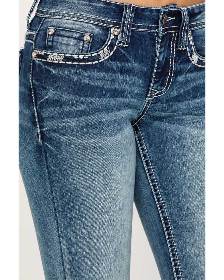 Shyanne Women's Faux Floral Flap Boot Cut Jeans, Blue, hi-res