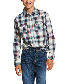 Ariat Boys' Jacksonville Retro Plaid Long Sleeve Western Shirt , Multi, hi-res