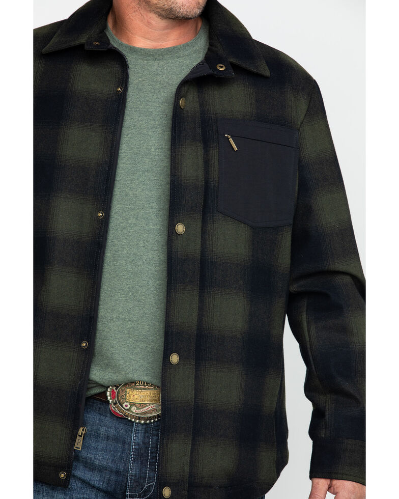Pendleton Men's Conway Ombre Plaid Snap Front Jacket , Olive, hi-res