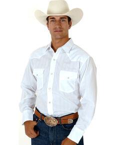 Roper Men's Tone On Tone Long Sleeve Western Shirt, White, hi-res