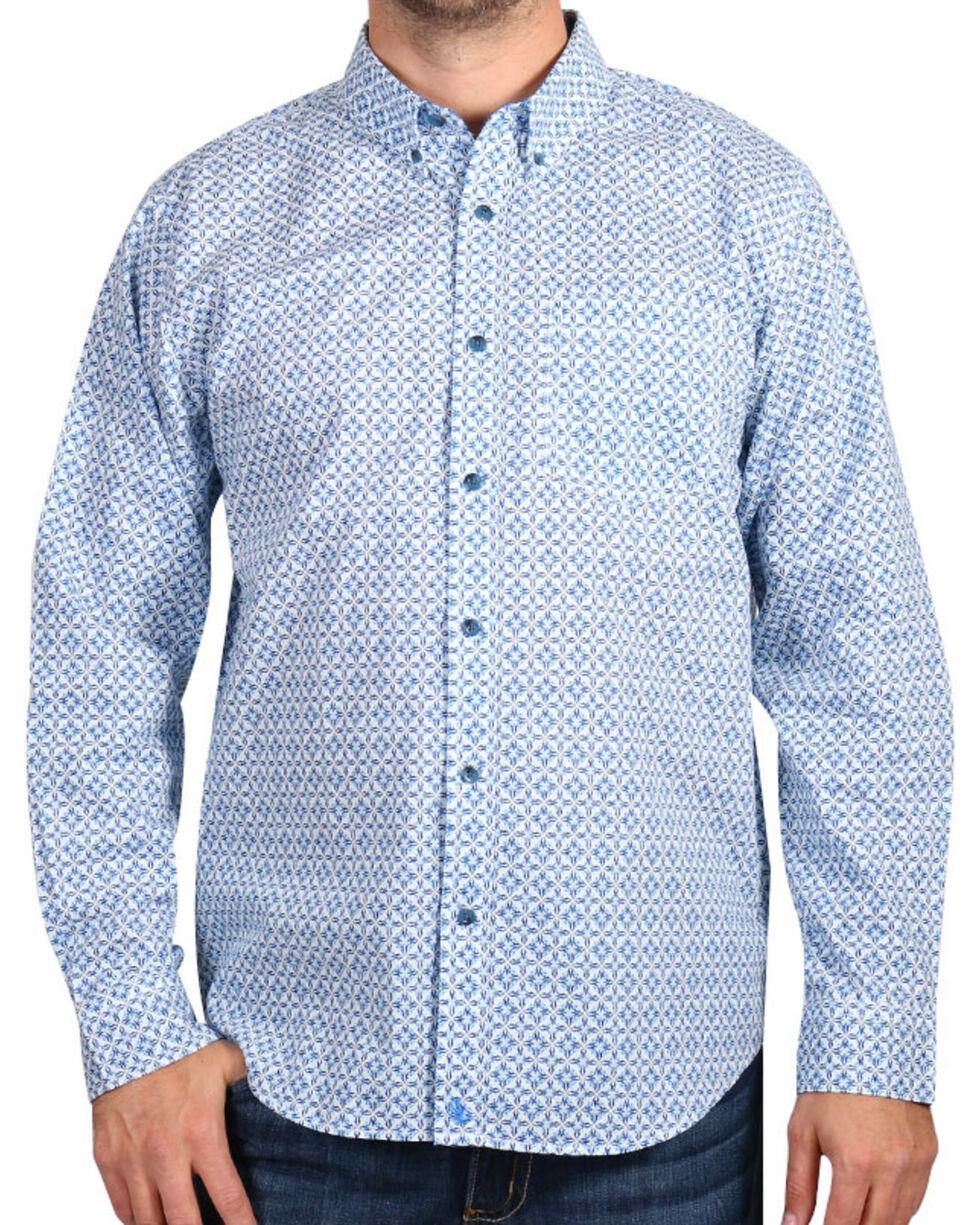 Cody James® Men's Diamond Patterned Long Sleeve Shirt, White, hi-res