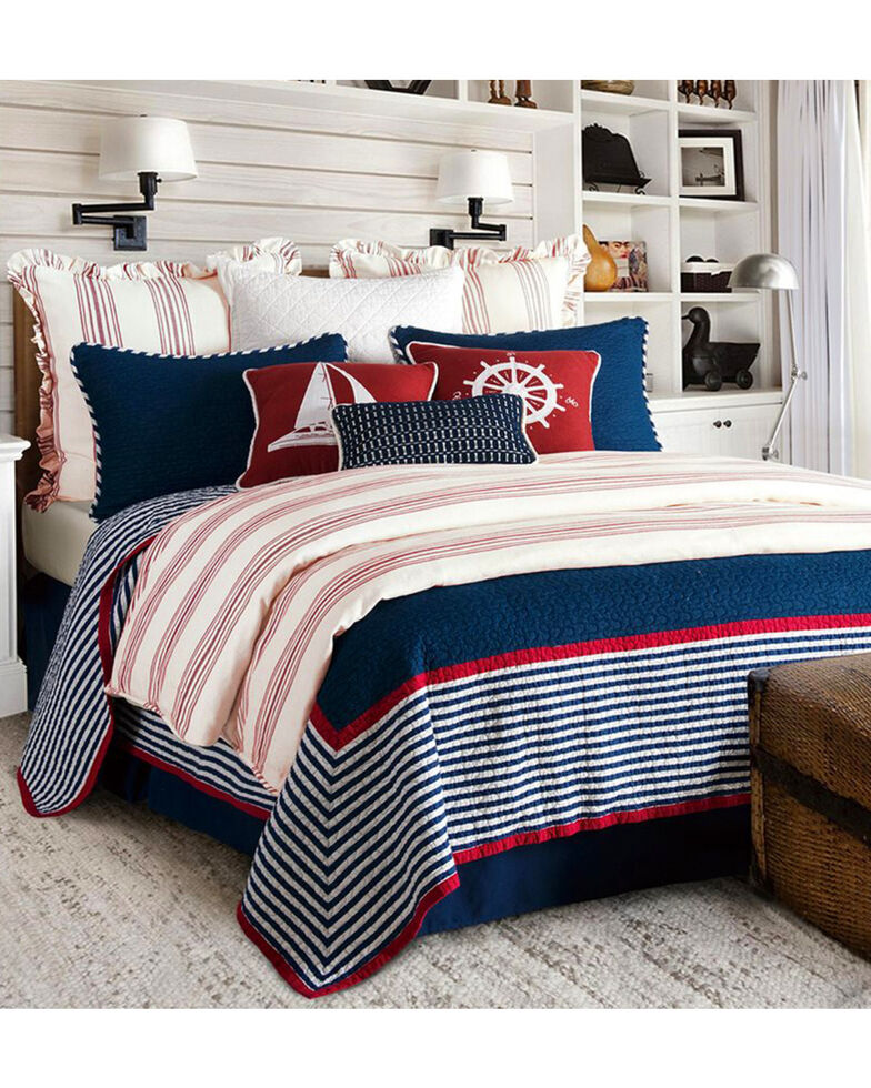 HiEnd Accents Navy Liberty 3-Piece Quilt Set - King , Navy, hi-res