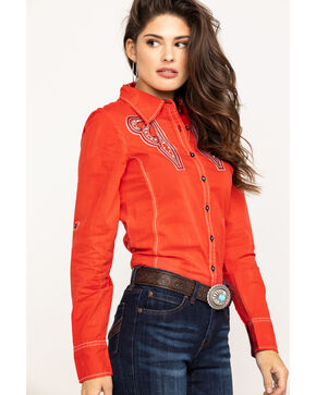 Grace In LA Women's Embroidered Rhinestone Long Sleeve  Western Shirt , Red, hi-res