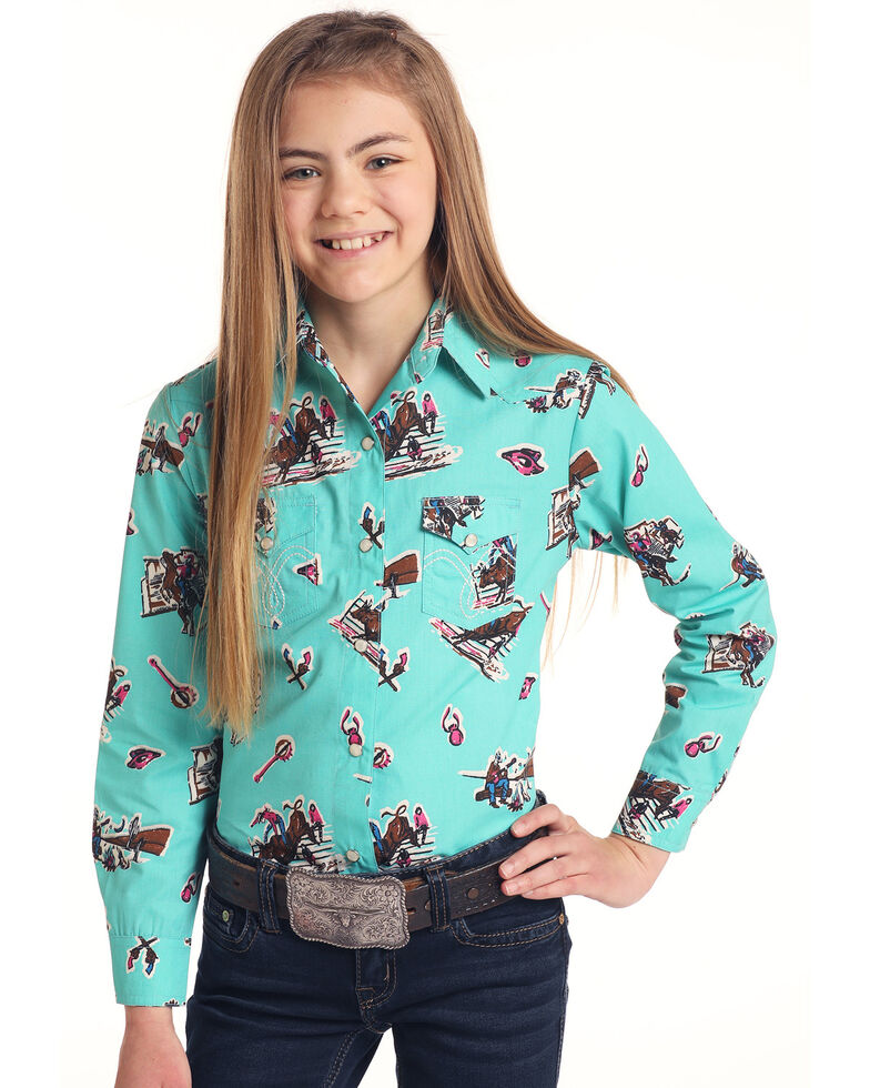 Panhandle Girls' Turquoise Novelty Print Long Sleeve Western Shirt , Turquoise, hi-res