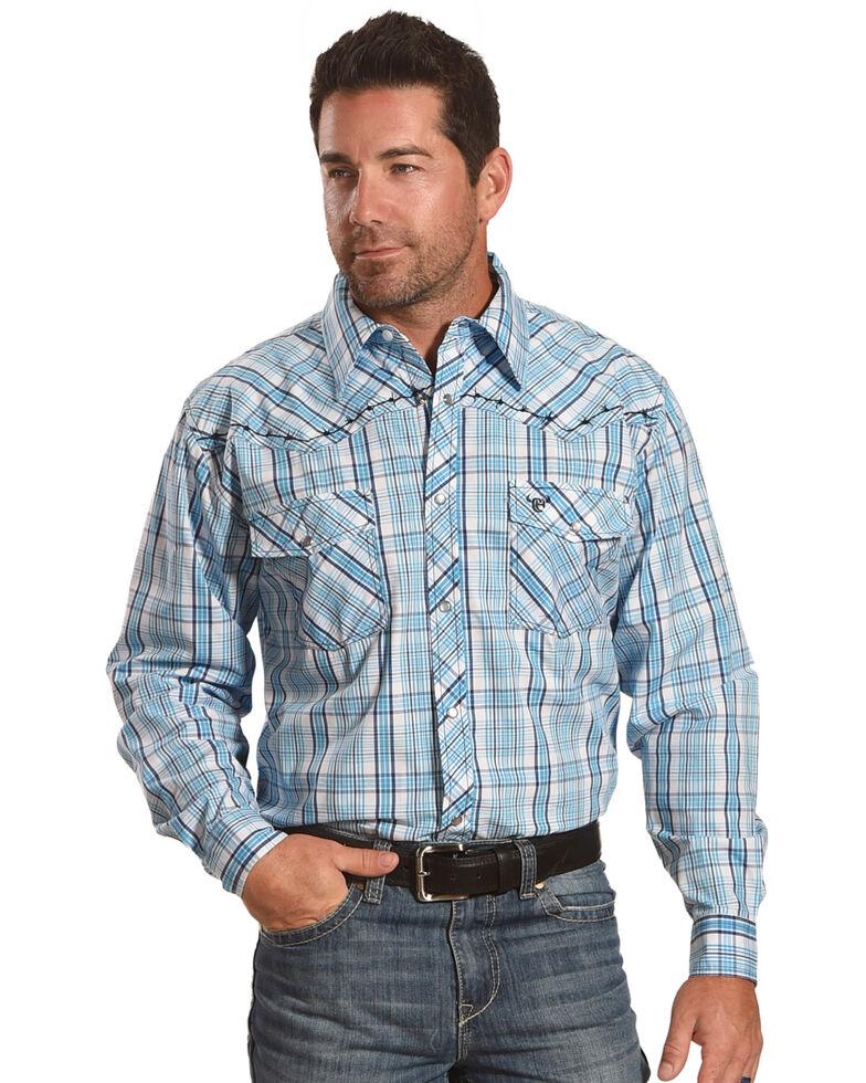 Cowboy Hardware Men's Blue Picnic Plaid Long Sleeve Western Shirt , Blue, hi-res