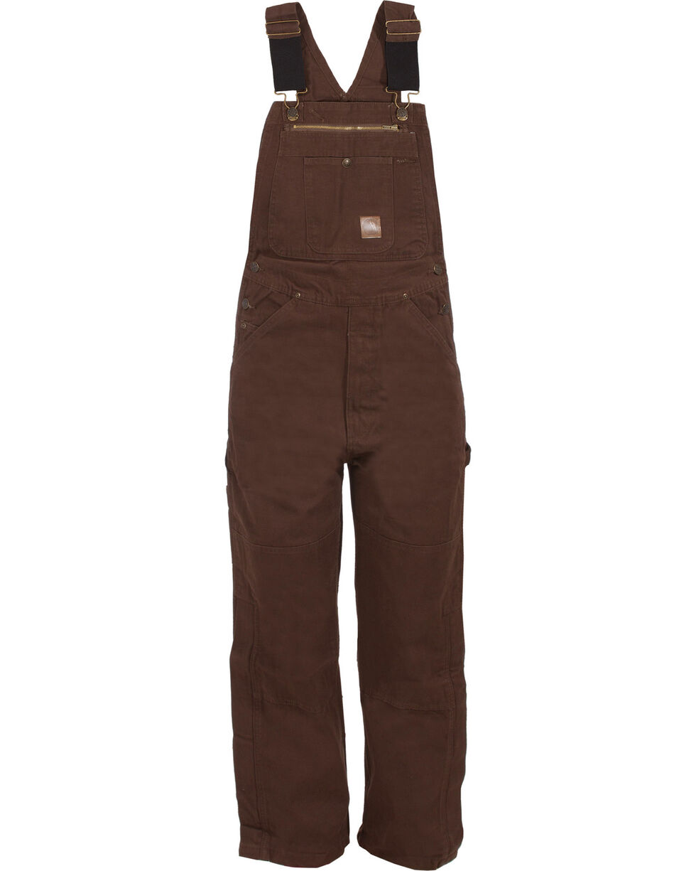 Berne Men's Unlined Washed Duck Bib Overalls - Short Size (30), Bark, hi-res