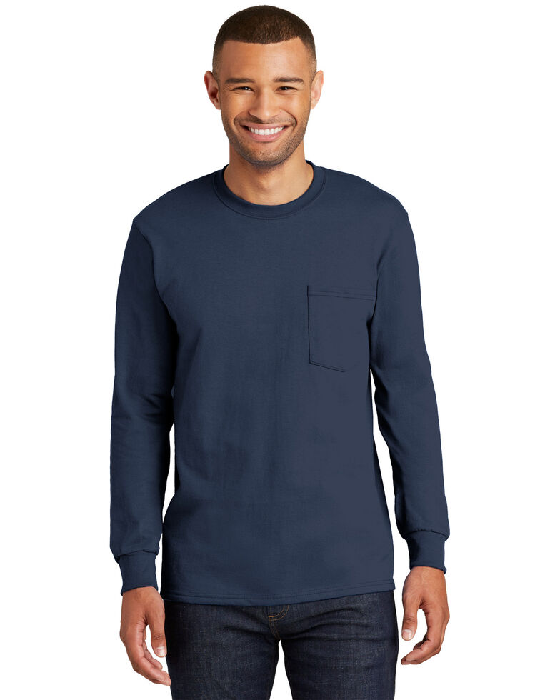 Port & Company Men's Navy 2X Essential Pocket Long Sleeve Work T-Shirt -Tall , Navy, hi-res
