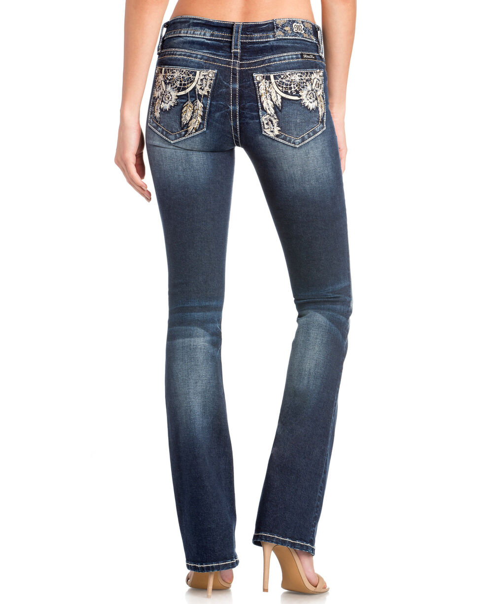 Miss Me Women's Floral Dreamcatcher Embroidered Boot Cut Jeans , Medium Blue, hi-res
