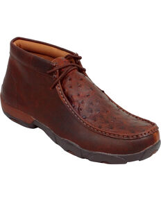 Twisted X Men's Full Quill Ostrich Driving Mocs, Saddle Brown, hi-res