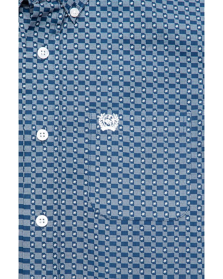 Cinch Boys' Blue Geo Print Long Sleeve Western Shirt , Blue, hi-res