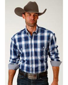68c446164 Roper Men s Navy Plaid Long Sleeve Western Snap Shirt